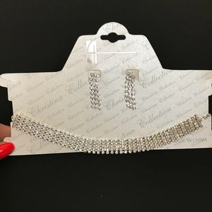 Jewelry - Rhinestone Choker and Earrings